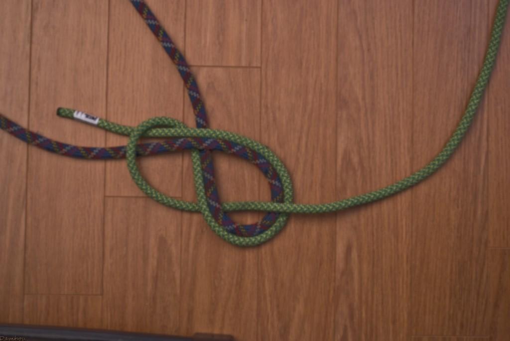 Cinquième étape du noeud en huit